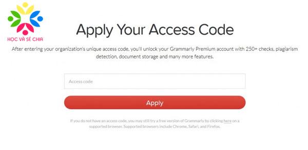Access code tài khoản Grammarly